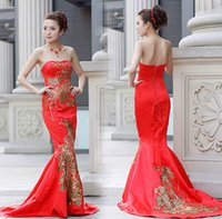 traditional chinese wedding dress - Vintage Classic Red Mermaid Bridal Vintage Strapless Cheongsam Women Chinese Wedding Dresses Traditional Clothing Blend Qipao Dresses