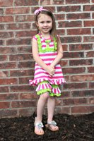 Girl boutique clothes - 2015 hot sell new kids boutique clothing hot pink short sets with matching headband and necklace set