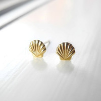 beach seashells - 10Pair S038 Gold Silver Sea Shell Earrings Seashell Stud Earrings Beach Conch Earrings Nautical Ariel Mermaid Studs Jewelry