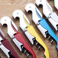 Wholesale Grape Wine Opener Household Accessories Screw Corkscrew Champagne Bottle Opener Cooking Tools Black JE0004 salebags