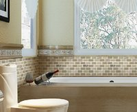wall cladding - Wall cladding glass mosaic tiles long strip chips beige color