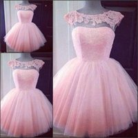 Wholesale 2016 Cute Pink Homecoming Dresses Sheer Neck Cap Sleeves Appliques Tulle Mini Length Ball Gown Short Party Dress Prom Dresses Fast Shipping