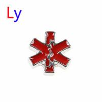 alert emergency - New Arrival EMS EMT Red Emergency Medical Alert Symbol Star of Life Floating Locket Charm Silver tone MFC120