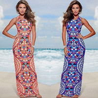 Wholesale Fashion Sexy Women Floral Slim Bodycon Dress Boho Summer Beach Long Maxi Dresses Sundress