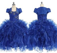 Wholesale Real Photos Beaded Top Girls Pageant Dresses With Jacket Ball Gown Organza Tiered Ruffles Charming New Design Cheap Pageant Dress Gowns