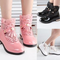 kids rubber boots - fashion style lace children shoes girl shoes sweet girls boots children boots hotsale leather boots for kids