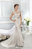 Wholesale Stunning Beteau Birdal Gowns Seath Lace With Applique Beads Sash And Ribbon Sleeveless Sexy Open Back Court Train Women Wedding Dresses