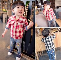 cotton shirt - England Style Children Boy s Shirts Spring Long Sleeve Cotton Plaid Tees Kids Childs Blouse Childs Tops Clothes Red Black J4393