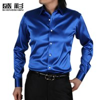 Cheap Mens Slim fit shirts High quality silk Long Sleeve Shirts Mens dance dress Shirts 21 colors