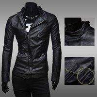 Wholesale Europe and America men s decorative fashion oblique zipper casual leather jacket coat