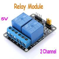 al por mayor retransmitir activa baja-Venta caliente de alta calidad 5V Junta Módulo Activo bajo de 2 canales de relé para Arduino PIC AVR MCU DSP ARM Freeshipping envío libre