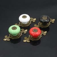Wholesale 1PCS Classic Door Knobs Ceramic Cupboard Drawer Sideboard Kitchen Pull Handle Color for Choose
