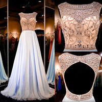 flowing prom gowns - Flowing Chiffon Prom Dresses Sparkly Beaded Crystal Top Open Back Blue Prom Gowns Real Photo Dresses Party Evening