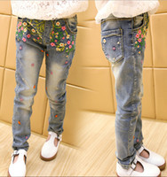 big jean wholesale - 2015 Hot Korean Style Fashion Girl Jean Pants Full Flower Embroidery Pants For Children Pure Cotton Light Big Kids Costume Age CR227