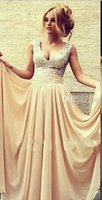 Wholesale 2015 Fashion Sexy Sparking Sliver Sequins Beads Formal Evening Dresses Nude Chiffon V Neck A Line Draped Women Prom Party Gowns