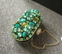beaded jewelry cover - New vintage women s Emerald jewelry hand beaded green gem diamond lady crystal evening bags handmade wedding party cluth bag845t