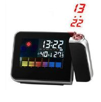 Cheap Wholesale Digital LCD Screen LED Projector Alarm Clock Snooze Alarm Clock Mini Desktop Clocks Multi-function Weather Station Drop shipping