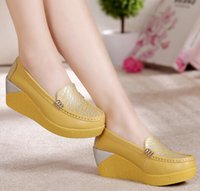 fall decorations - New Style Wedges Shoes Women Fashion Metal Decoration Platform Shoes Woman Round Toe Thicken Sole Genuine Leather Casual Shoes Womens H118