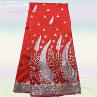 Wholesale Gorgeous red Item MGL17 yds High quality African embroidery George lace fabric Pretty voile silk lace fabric for dress