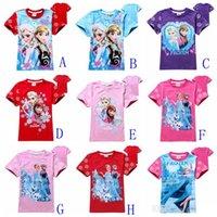 Wholesale 13 styles Short Sleeve Tshirts Children clothing Cartoon Anna Elsa Tops Tees Kids Clothes Snowflake Queen Tshirt Top Child Kid