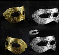 Wholesale Men s retro Greco Roman Gladiator masquerade masks Vintage Golden Silver Mask silver Carnival Halloween Mask Mens Costume Party Mask
