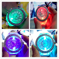 battery glow lights - LED Light Glow Geneva Watches diamond crystal stone Led Light watch unisex silicone jelly candy flash up Watches