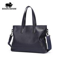 Wholesale BISON DENIM Royal Blue Business Men Fashion Handbag Genuine Leather Casual Briefcase Stylish Waterproof Portfolio
