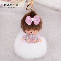 bags platinum jewelry - Monchhichi fireball into the newest Rhinestone Charm pacifier Keychain car bag hanging pendants Jewelry purse key chain