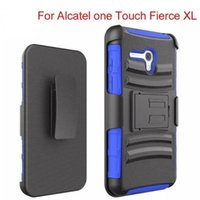 Wholesale 500pcs Dual Layer Heavy Duty Rugged Armor Defender Holster Case For Alcatel One touch Fierce XL Cover With Kickstand Shockproof