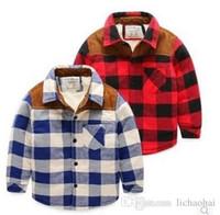 Wholesale Winter Children Shirts classic grid thicken new style lapel Long sleeve boys clothing kids shirt coat meninas blusas