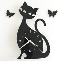 big cat houses - Fashion D Big Size CAT Wall Clock Mirror Sticker DIY Living Room House Home Beautiful Creative Decor Meetting Room Wall Clock
