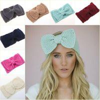 Wholesale New big bow crochet knitted headband ear warmer women lady fashion hair accessories