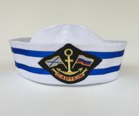 Wholesale Adult White Navy Sailor Hat Captain Yacht Cap Military Costume Party Fancy Dress