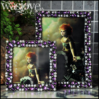 Wholesale 1Pcs Vintage Picture Frames Rectangle Roland classical Style Home Decor alloy crystal Photo Pictures Frame