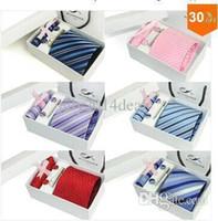 Wholesale gift box Silk ties Men s Ties Necktie Plaid Stripe Mans Tie Neckties set