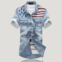 Preço de fábrica 2,015 Man Jeans Retro Camisas Casual manga curta Blusa Jean shirt Lazer Cowboy Roupa