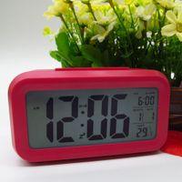 Wholesale Digital LCD Screen Clocks Mini Desktop LED Alarm Clock Multi function with Snooze White Backlight Calendar Temperature Colors