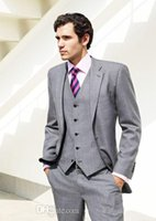 Wholesale Outside Two Fake Pocket And One Real Pocket Inside One Real Pocket Grey Groom Tuxedos Best Bridal Suits Jacket Pants Vest