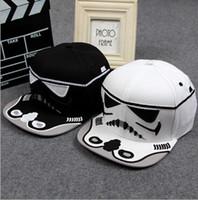 brand baseball cap - Brand Star Wars Snapback Caps Cool Strapback Letter Baseball Cap Hip hop Hats For Men Women Black White A1DA4E