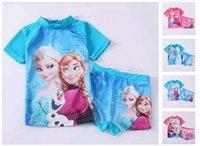 uv t-shirt - 2014 Frozen girls sun protection anti uv swimwear swimmer bather swimsuit summer t shirt top shorts set sets