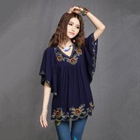 hippie clothing - 2015 New Fashion Women Cheap Plus Size Clothing Vintage Hippie Boho Ethnic Totem Pattern Embroidered Blouse Blusas