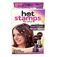 Wholesale Best seller stamps Creative Heart Star Shape Hair Glitter Vintage Women Hot Stamps Peace Flowers Hair Glitter set