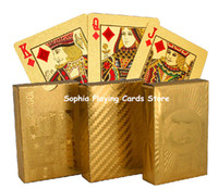 Wholesale high quality golden plated poker casino poker promotional game cards advertising cartoon k gold foil playing cards