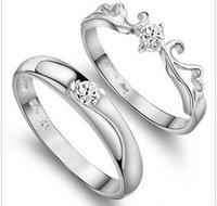 beautiful set wings - Beautiful Angel Wing Sterling Pure Silver Wedding Rings With Romantic Diamond Solid Silver Rings for Bride and Bridegroom Gift WR098