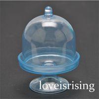 Nouveautés --- 20pcs / lot Mini Clear Blue Cupcake Boîtes de mariage de faveur pour Lovely Baby Shower Party Supplies