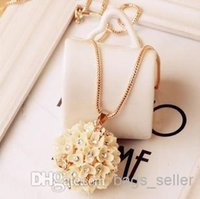 Cheap Ball Flower Pendant Necklace Sweater Chain With Diamond 12PCS Lot Free Shipping 0907N3