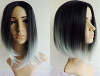 Wholesale 2016 Fashion Ombre Straight Two Tone Gradient Two Colored Wig Synthetic Wigs for Women Black to Gray g cm