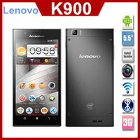 Cheap Original Lenovo K900 5.5'' 1920x1080p 2GB RAM 13mp Gorilla Glass Intel Atom Duel Core Phone Android 4.2 Multi Language Russian