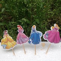 April Fool's Day baby cake supplies - 24pcs princess Cinderella cake toppers picks cases for kids birthday favors party decorations supplies festa baby shower AW