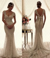 Wholesale 2016 mermaid backless wedding dresses beach summer anna campbell wedding gowns sweetheart cap sleeves cascading pearls lace bridal gown